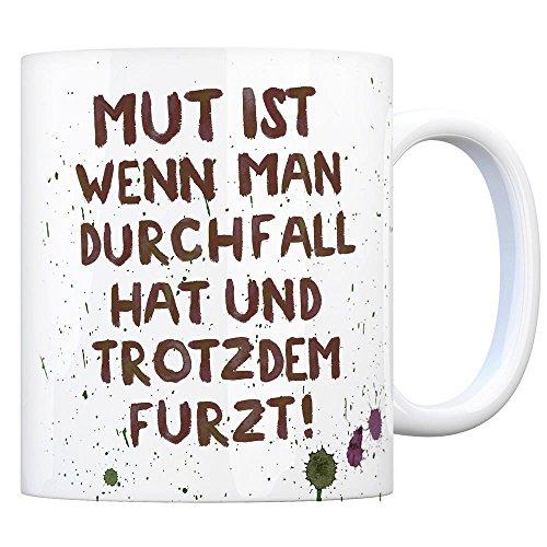 trendaffe - Kaffeebecher mit Durchfall Motiv und Spruch: Mut ist.