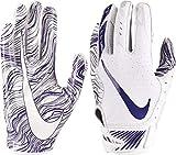 Nike Mens Vapor Jet 5.0 Stretch Lightweight Padding Football Gloves (White/Purple/Small)