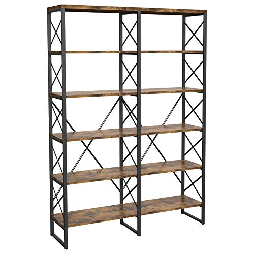 Homfa Triple Wide 5-Tier Bookcase, Large Etagere Bookshelf Industrial Open Storage Display Shelves Organizer, 68.5L x 11.8W x 68.1H Inches Solid Wood Book Shelf with Metal Frames for Home Office