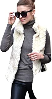 Womens Faux Fur Vest,Solid Stand Collar Sleeveless Cardigans Fuzzy Warm Chic White Jacket