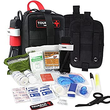 TOUROAM IFAK Med Trauma Kit Molle Tactical Emergency First Aid Kit Survival Military Rip-Away Field Dressing Kit with Tourniquet for Camping Hiking Bug Out