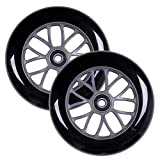 AOWISH 2-Pack 125 mm Scooter Wheels 125mm Kick Scooters Replacement Wheel with Bearings ABEC-9 for Razor A3 Kick Scooters (Black Wheel Gray Hub)