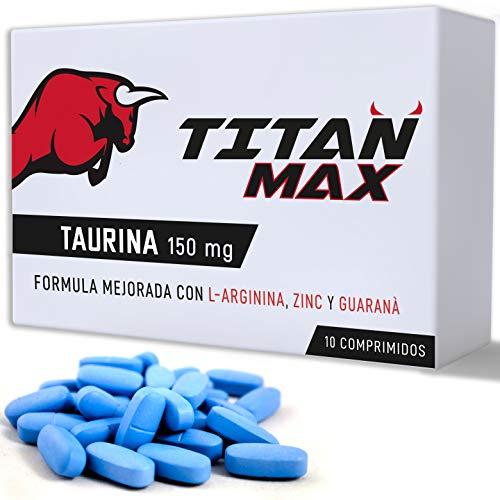 Titan Max [10 tabletas extrafuertes] | Potenciador de energía natural | Taurina 150 MG, Guaraná, L-Arginina, Zinc | Seguro y certificado