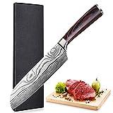 Santoku Cuchillo japonés, Cuchillo Cocina, Cuchillo de Chef Profesional de 17cm - Cuchillos alemanes de Acero Inoxidable de Alto Carbono con Mango ergonómico Antideslizante