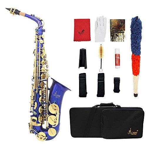 ammoon LADE gravierte Eb EB Alt-Saxophon Sax Abalone Shell Tasten Blechblasinstrument mit RS Tuch Fett Gürtel Reinigungsbürste