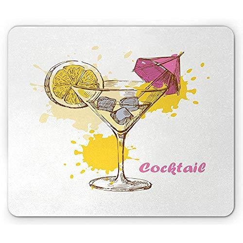 Cocktail Party Mouse Pad,Handgezeichneter Wodka Martini Mit Einer Scheibe Zitrone Und Rosa Regenschirm,Rechteckiges Rutschfestes Gummi-Mousepad,Standardgröße,Gelb Pink Hellgrau
