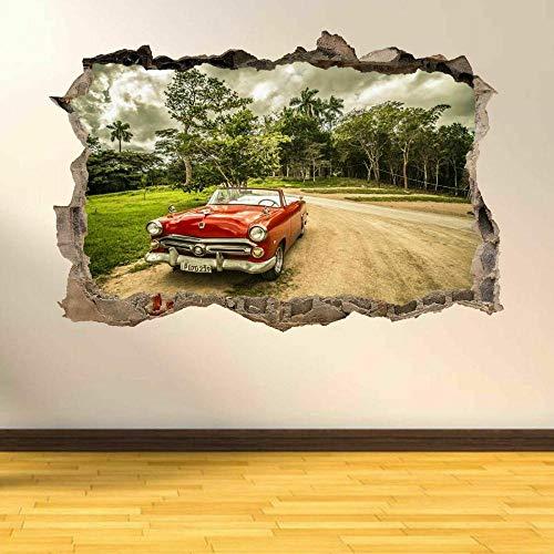 Pegatinas de pared Pegatinas de arte de pared de coche retro Vintage Mural decoración de oficina en casa papel tapiz de cartel- 60×90cm