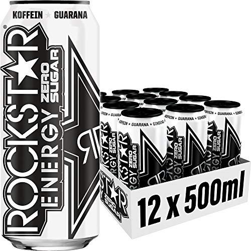 Rockstar Energy Drink Original Zero - Zuckerfreies, koffeinhaltiges Erfrischungsgetränk für den Energie Kick, EINWEG (12x 500ml)