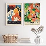FrancéS Minimalista ExposicióN Poster Vintage Jazz MúSica Abstracto Arte Pared Cuadros Moderno Mediados De Siglo Abstracto De La Lona Pintura Decoracion 40x50cmx2 No Marco
