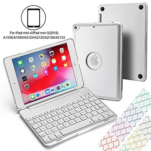 Aidashine IPad mini 4/5 hoesje met toetsenbord, hard beschermhoesje met 7 kleuren toetsenbord met achtergrondverlichting, automatische wake/slaapfunctie, ZILVER