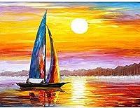 湖の上のヨット大人のための番号によるDIYペイント初心者抽象芸術アクリルキット寝室40x50cm(フレームレス)