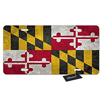 WONDERTIFY Maryland Flag License Plate,Vintage Aged Flags Pattern Decorative Car Front License Plate,Vanity Tag,Metal Car Plate,Aluminum Novelty License Plate,6 X 12 Inch  4 Holes
