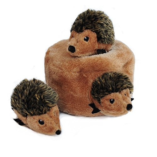 ZippyPaws Woodland Friends Burrow Interactive Dog Toys - Hide and Seek Dog Toys and Puppy Toys, Colorful Squeaky Dog Toys, and Plush Dog Puzzles, Hedgehog Den