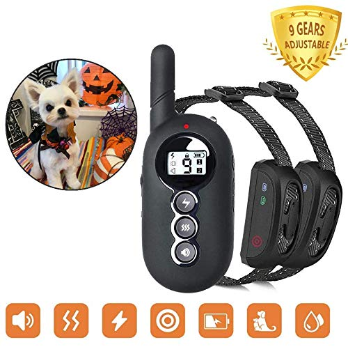 ACAPETTY Dog Training Collar for 2 Dogs Dual-Channel with Remote Control, Waterproof Receiver Training Modes, Beep, Vibration for Pet Training, 1500 ft Control Smart Touch (Two Receivers)
