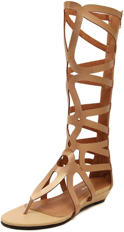 JQfashion Ladies Sandals Hollow Roman shoes Pu Flat Beach Outdoors