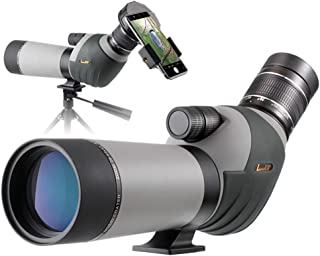 Landove 20-60x62 Zoom Spotting Scope - HD 24mm BAK4 Angled Big Eyepiece Dual Focus Telescope Digiscoping Adapter - Waterproof Scope for Bird Watching Wildlife Target Shooting Hunting