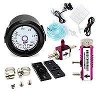 2インチ/ 52ミリメートルターボ・ブーストゲージ液晶7色の仮想ポインタ表示アジャスタブルコントローラーキットをターボ表バー (Color : Purple Controller)