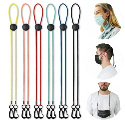 LANNYS elastische Maskenkette, einstellbarer Maskenhalter, Maskenband für Mundschutz/OP Einwegmasken / FFP2 Maske, Maskenverlängerung, Maskenhalterung Hinterkopf, Nackenhalter (6er Set, mehrfarbig)