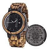 BOBO BIRD Mens Engraved Wood Watch for Men Boyfriend Husband Him As Personalized Anniversary Christmas Birthday Father Day Wooden Gifts Idea with Wood Box (Black-FM)