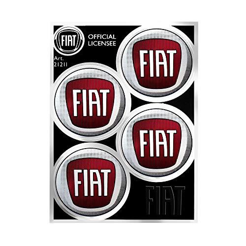 Fiat 4R Quattroerre.it 21211 Pegatina Oficial 4 Logos 48 mm, Tabla de 94 x 131 mm, Rojo