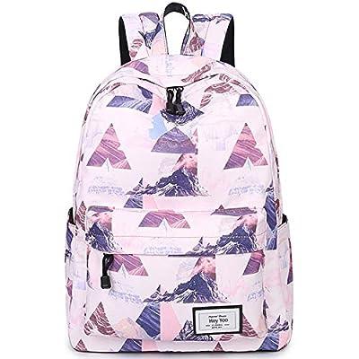 Hey Yoo Girls School Backpack Waterproof Travel Bookbag School Bag Backpack for Teen Girls Women (Pink) by Hey Yoo