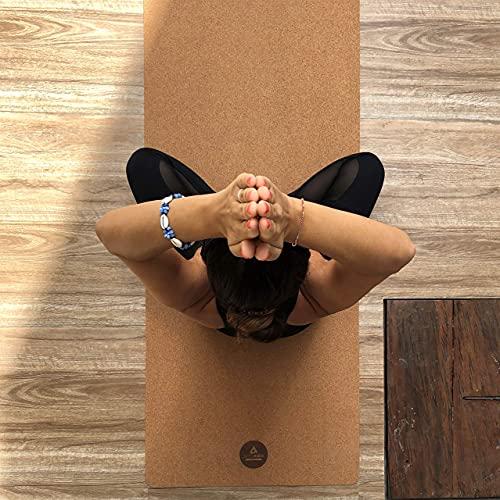 Yogistar Pro Comfort - Esterilla de yoga (corcho y caucho, extralarga y ancha, 200 x 66 cm, antideslizante, sostenible y sin sustancias nocivas), color natural