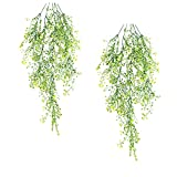 Plastic Hanging Plants Fake Hanging Ferns Artificial Hanging Vines Plants Fake Ivy Ferns for Outdoor UV Resistant for Wall Indoor Hanging Baskets Wedding Garland Decor 2 Pack(Yellow)