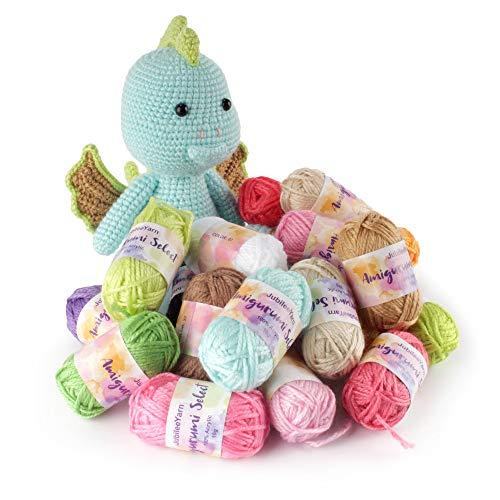 BambooMN Amigurumi Select 100% Acrylic Craft Yarn Bonbons - Crochet and Knitting Projects - Variety Pack - 10 x 10g Bonbons 250 yds Total.