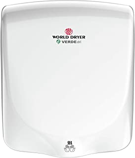 World Dryer Q-974A VERDEdri Commericial Hi-Speed Quick-Dry Surface-Mounted ADA Compliant Hand Dryer, Aluminum Cover in White,Universal Voltage 110-240V