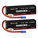 HOOVO 14.8V 100C 5200mAh 4S Lipo Battery with EC5 Connector Soft Case for RC Car Truck Truggy Buggy Tank RC Airplane Helicopter Boat Car Racing (2 Pack)