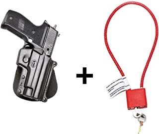 """Fobus SG-21 Paddle Holster Smith & Wesson 3913, 3914, 3919, 4013, 5904, 5906, 6906, 6946, CS9, CS45, 908V, 910, 915 + Gun Lock Cable with Keys (15"""" Long) Bundle - California Approved Device"""