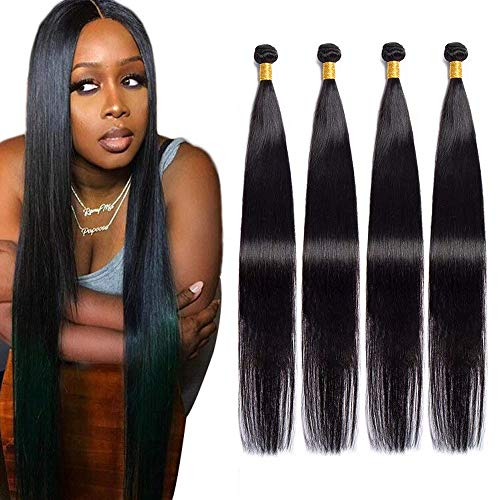 Maxine Human Hair 4 Bundles 24 24 26 26inches 400g Straight 10A Grade Malaysian Virgin Remy Human Hair Weaves Extensions Natural Black