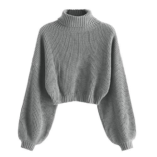 ZAFUL Women's High Neck Lantern Sleeve Ribbed Knit Pullover Crop Sweater Jumper (B-Gray, S)
