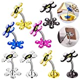 8 Pieces 360 Degree Rotatable Metal Suction Cup Double-Sided Phone HolderMulti-Angle Car Bracket Multicolor Metal Flower Magic Suction Cup Cell Phone Holder for Universal Mobile Phone, 2 Styles