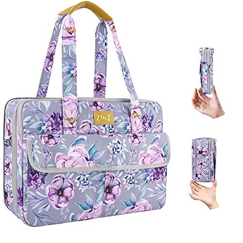 Superdünne & Erweiterbare Laptoptasche Handtasche Damen 14-15 Zoll, wasserdichte & Diebstahlsichere Umhängetasche Aktentasche, Geschenke für Frauen. (3,7L-10,3L),Lila Blume
