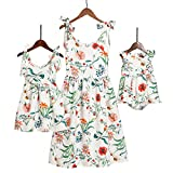 Mumetaz Mommy and Me Dresses Sweet Floral Print Bowknot Halter Shoulder-Straps Chiffon Dress White