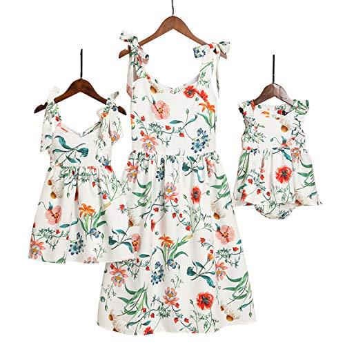 Mumetaz Mommy and Me Dresses Sweet Floral Print Bowknot Halter Shoulder-Straps Chiffon Dress White