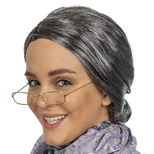 Skeleteen Old Lady Costume Set - Grey Granny Wig and Fake Gold Rectangle Eyeglasses Grandma Set for Women and Girls