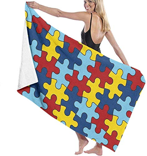Toallas de Playa de impresión de Moda, toallitas de baño de Pieza de Rompecabezas de Autismo Toalla de Viaje para Adultos y