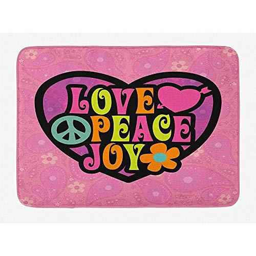 Anna-Shop Joy Bath Mat, Peace Love 70 's Style Diseño Floral Paisley Motivo Fondo Colorido Arreglo, Felpa Baño Decoración Mat con Respaldo Antideslizante, 29.5' X 17.5 '