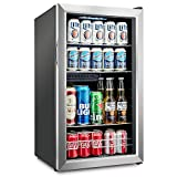 Ivation 126 Can Beverage Refrigerator | Freestanding Ultra Cool Mini Drink Fridge | Beer, Cocktails, Soda, Juice Cooler for Home & Office | Reversible Glass Door & Adjustable Shelving, Stainless Steel