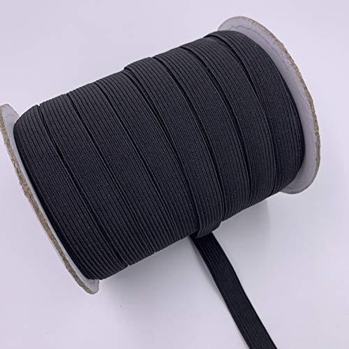 50 Yard 1/2 Inch Elastic Band for Sewing, Masks, Crafting, Braided Stretch Strap, Elastic String Cord, High Elasticity (Black, 0.5 inch, 12mm)