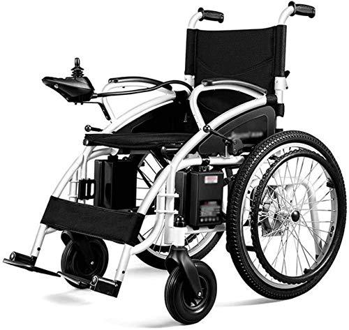 Silla de Ruedas eléctrica Plegable motorizado, Todo Terreno, portátil de la batería sillas de Ruedas eléctricas (Color : Black)