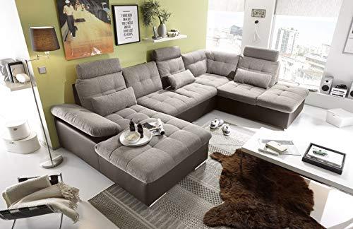 moebel-guenstig24.de Couch Jakarta Wohnlandschaft Sofa Lederlook Schlaffunktion Schlafsofa braun beige Ottomane rechts 324 cm