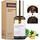 Ultikare Hair Care Serum Stop Hair Loss Liquid Treatment for Women and Men, Hair Growth Ginger Essential Oil to Help Grow Healthy
