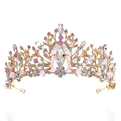 Lurrose - Tiara de cristal para novia, vintage, accesorio para el pelo,...