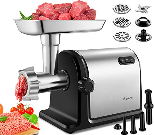 AAOBOSI Electric Meat Grinder 【2000W Max 】Heavy Duty Stainless Steel Meat Mincer with 3 Grinding Plates, 3 Sausage Stuffer Tubes & Kubbe Attachments,Easy One-Button Control