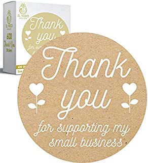 """600 pcs 1.5"""" Thank You for Supporting My Small Business Stickers I 600 pcs Roll Kraft Paper Thank You Stickers 