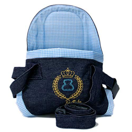 Canguru Cadeirinha Carregador De Bebê L.Baby Suporta Até 15 kg Jeans e Azul Xadrez