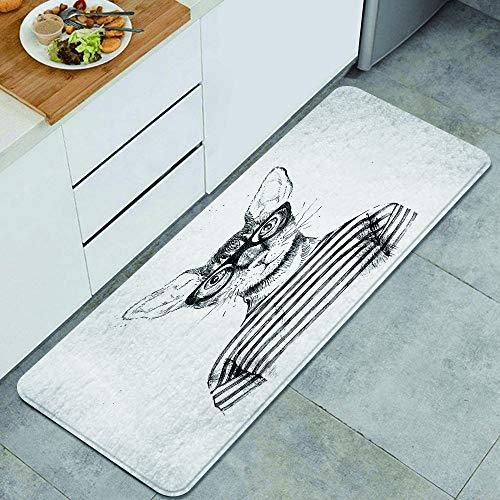 DYCBNESS alfombras de Cocina Antideslizantes Lavables,Dibujado a Mano Disfrazado de Gato Hipster,con Parte Trasera de Goma, felpudos para Interiores y Exteriores 45x120cm